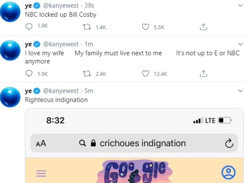 Kanye West posted a series of since-removed explosive tweets criticising his famous family. Picture: Twitter