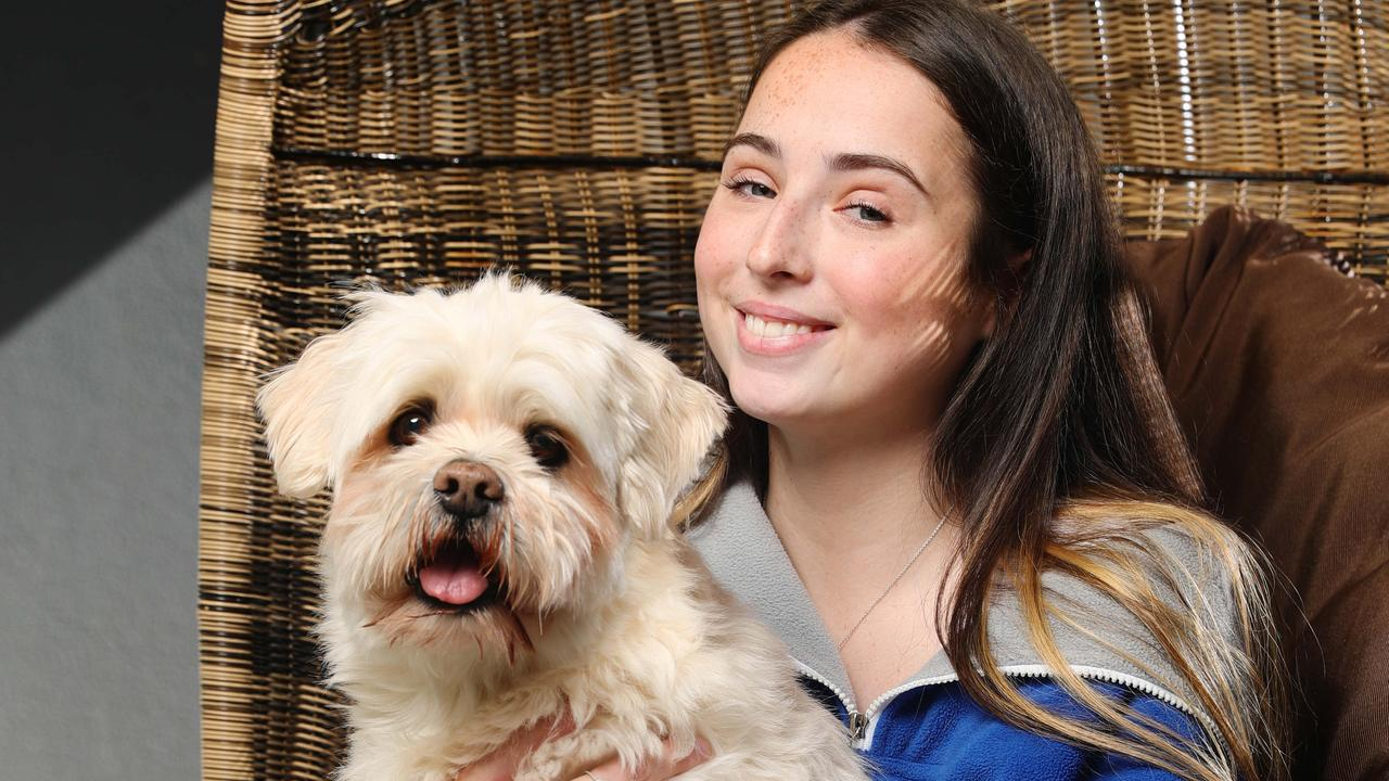 Double lung transplant recipient Savannah Fretwell 17, at home in Mudjimba with her dog Maxx. Photo: Lachie Millard.
