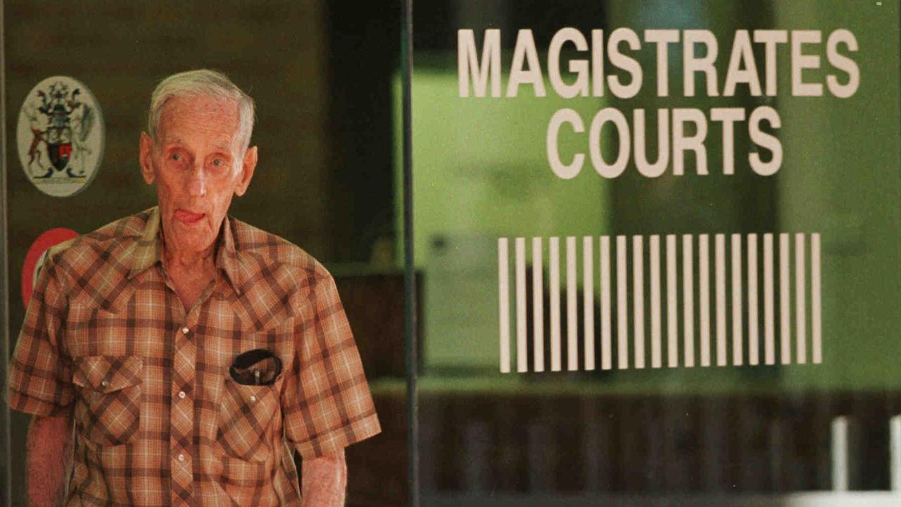 Accused killer Arthur Brown leaves Townsville Magistrates Court after the first day of his committal hearing into 1970 murders of Susan and Judith Mackay. Photo: Patrick Hamilton.