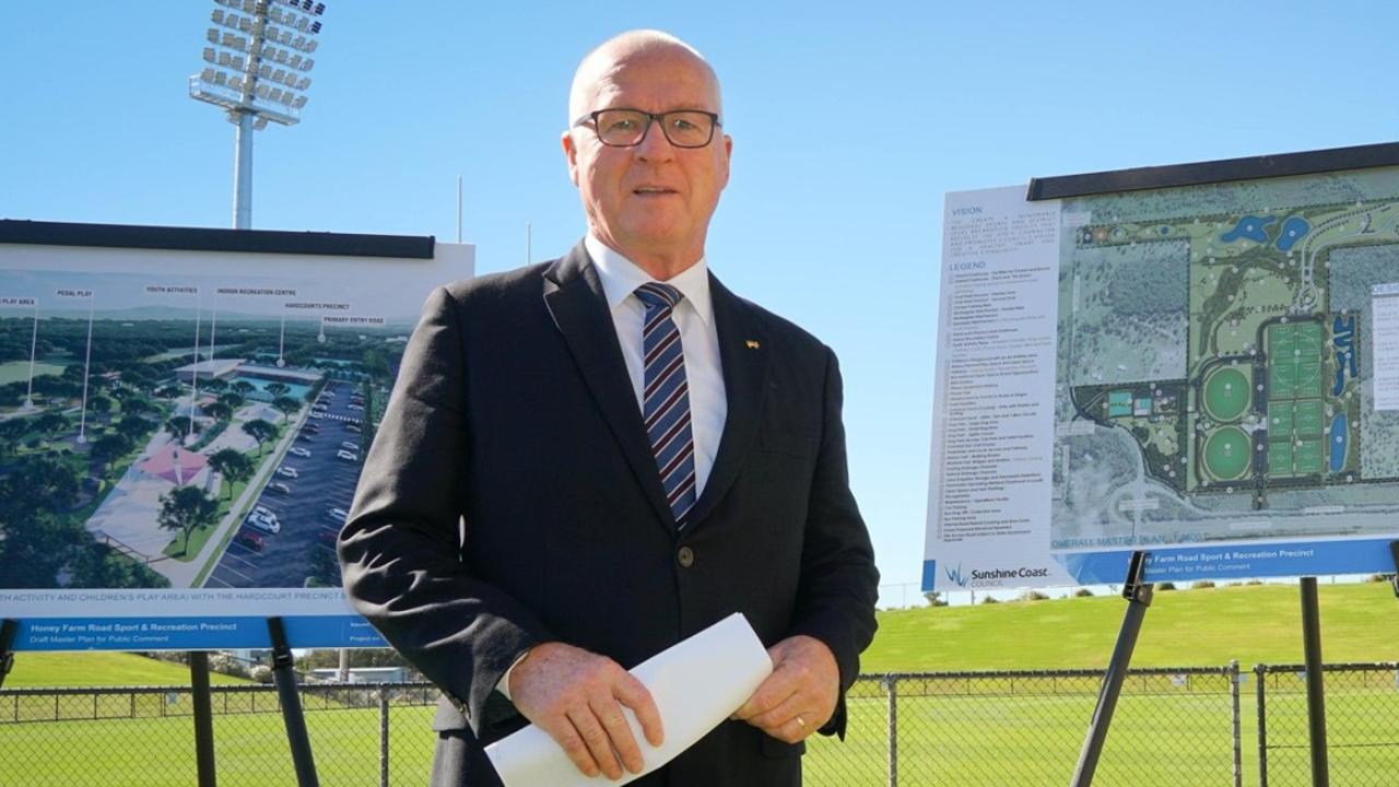 FILE IMAGE: Mayor Mark Jamieson pictured with plans for the new sport and recreation precinct in Meridan Plains.