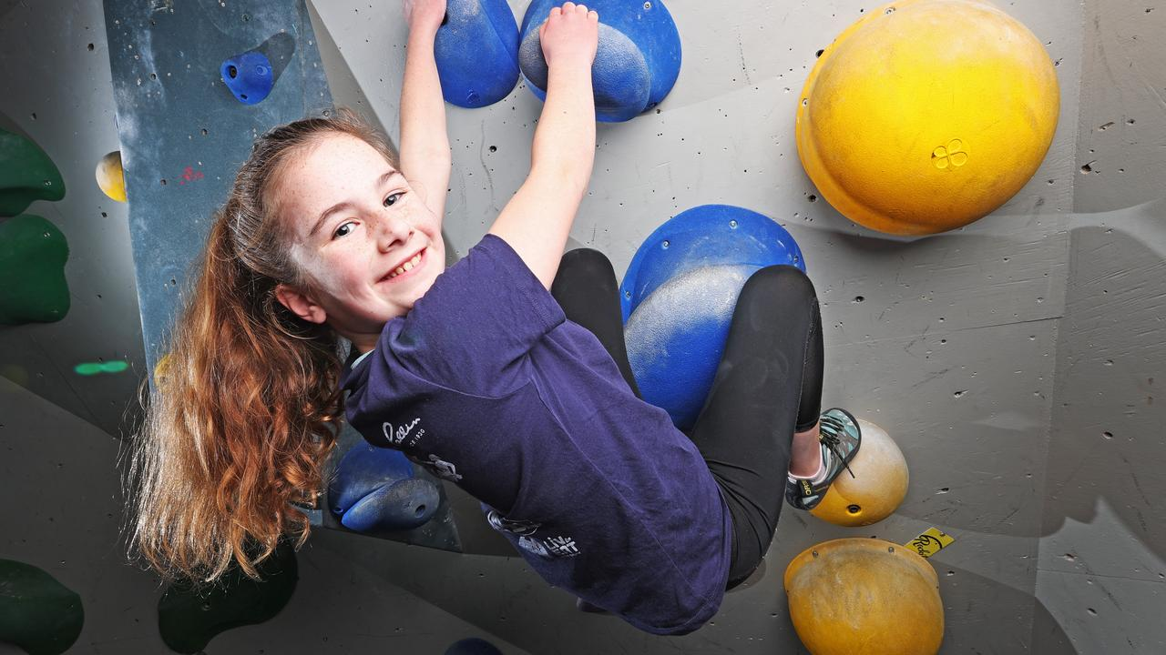 Ivy Hawkins, 10 of Rose Bay enjoying her school holidays at Rock It Climbing Centre. Picture: Zak Simmonds