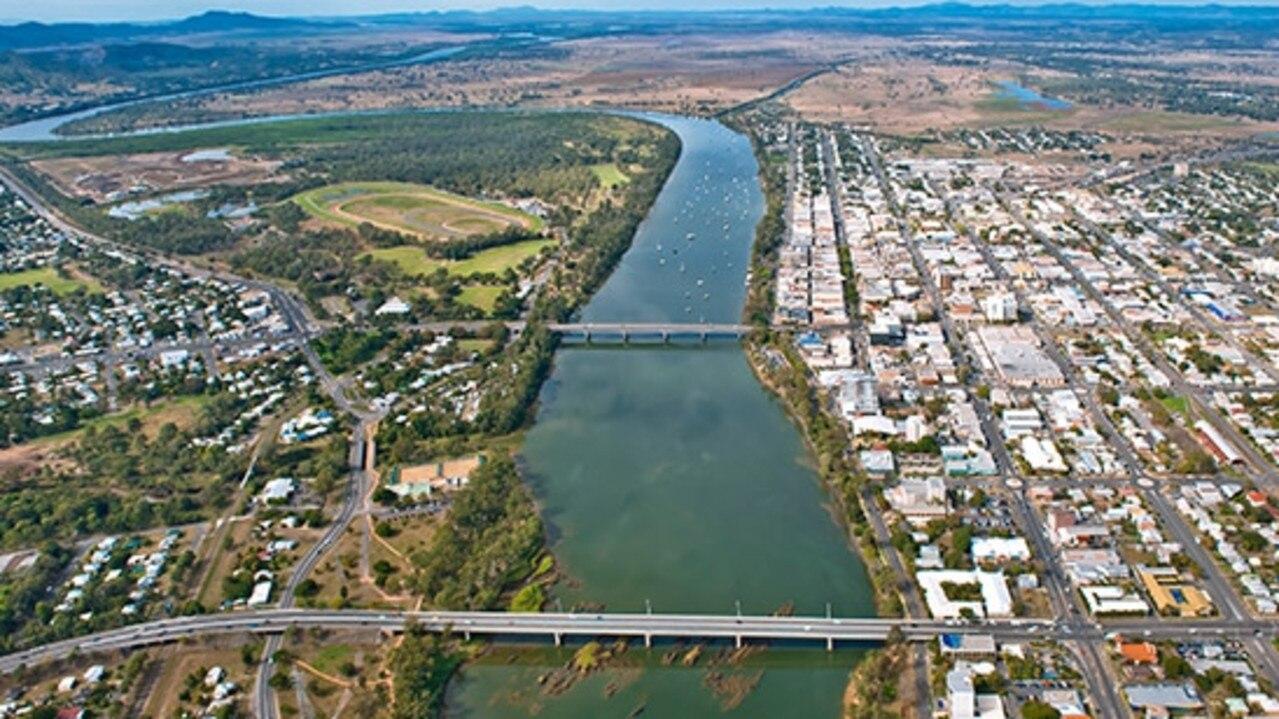Aerial view of Fitzroy River in Rockhampton, Queensland.
