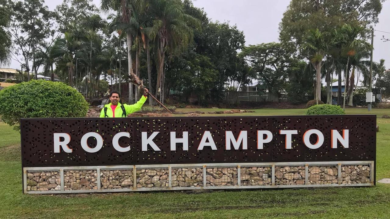 Alwyn Doolan arrives in Rockhampton on his way to Yeppoon.