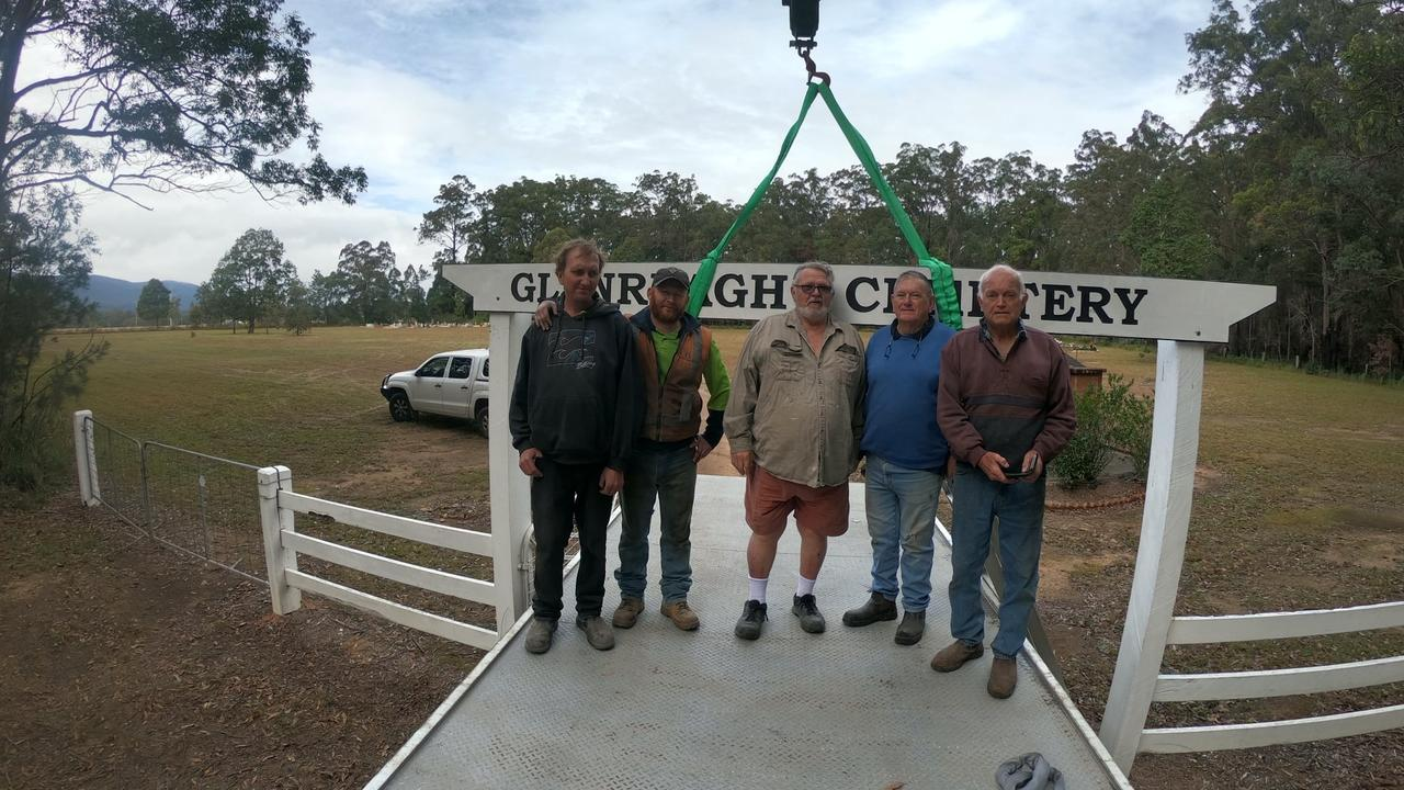 Lions members Garry Elston, Graeme Jamieson and Noel Backman with Josh Howard and Steve Brooker from the Coffs Harbour Hardwood Mill.