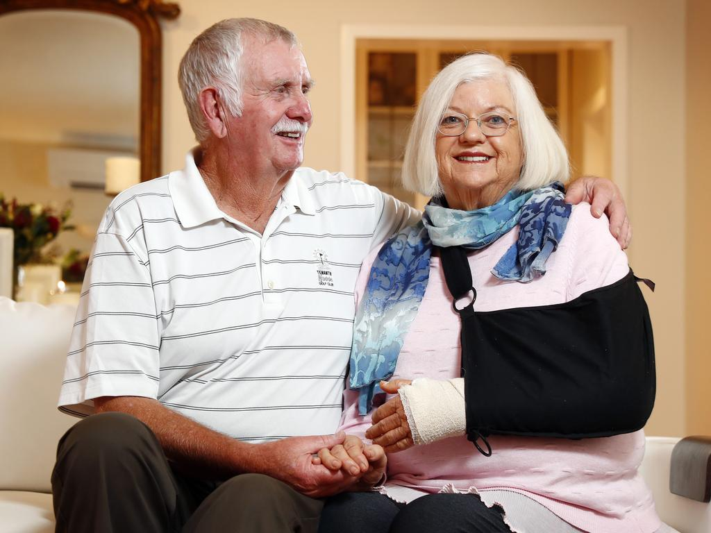Cheryl Ferguson healing at home with husband Barry. Picture: Sam Ruttyn