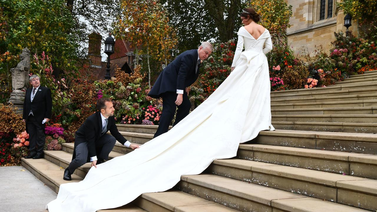 Princess Eugenie wanted a low-back dress to show off her scoliosis scar and help break down taboos. Picture: Victoria Jones/Getty