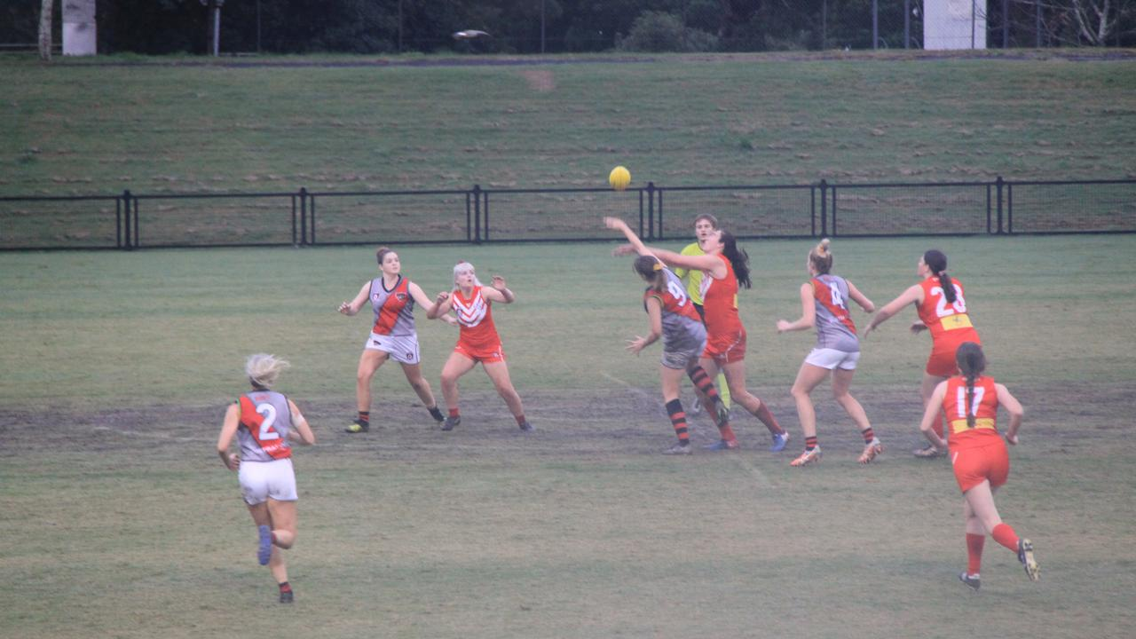 GIRLS GAME: In wet conditions the Lismore Swans women were defeated by the Ballina Bombers at Oakes Oval on Jul 25, 2020. Alison Paterson