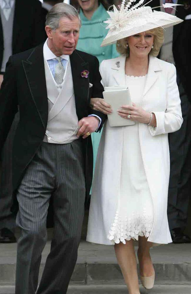 For the ceremony, the Duchess of Cornwall wore a cream silk chiffon mid-length dress and a silk basket weave coat. Picture: AP/Stephen/Hird