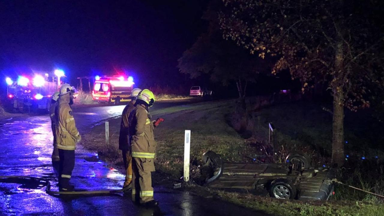 Emergency services were called to a crash in wet conditions near Nimbin on Saturday night.