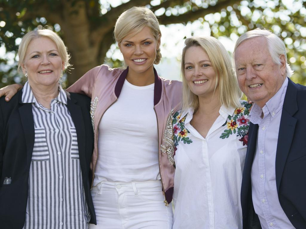 Monk with mum Sandi, sister Lucy and dad Andrew. Picture: Channel 10
