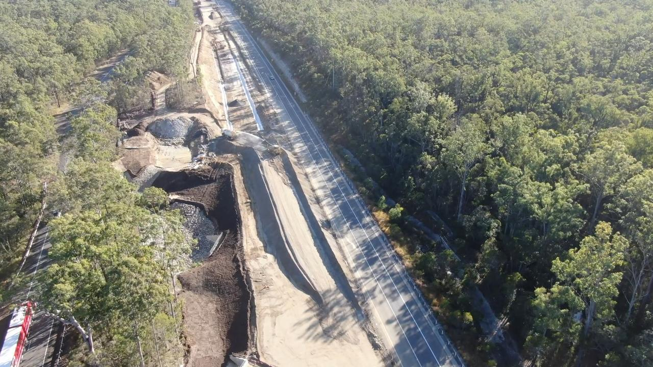 An aerial view of the Pacific Highway upgrade being constructed from Wells Crossing to Glenugie