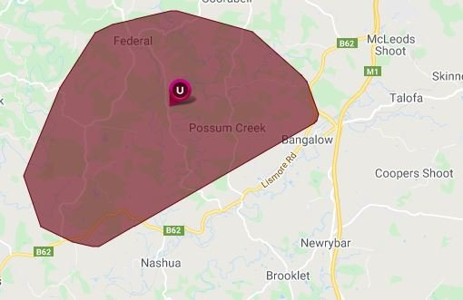 More than 600 homes are without power in the Bangalow, Possum Creek and Federal areas.