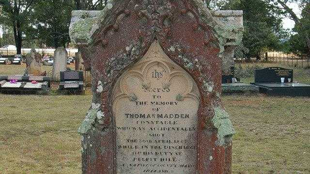 Headstone of Constable Thomas Madden at Hartley cemetery. Photo: Kevin Banister.