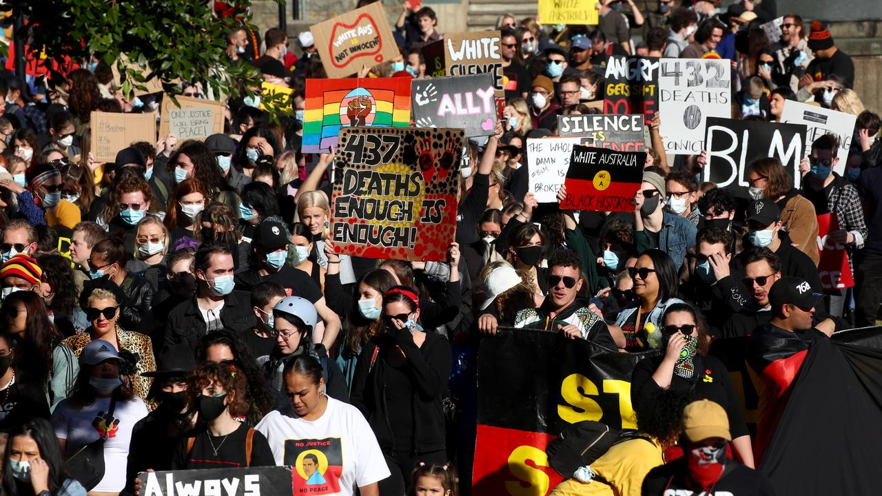 Hundreds of locals gather for a Black Lives Matter protest in Civic Park, Newcastle followed by a march down King and Hunter Streets to Pacific Park. Picture: Toby Zerna