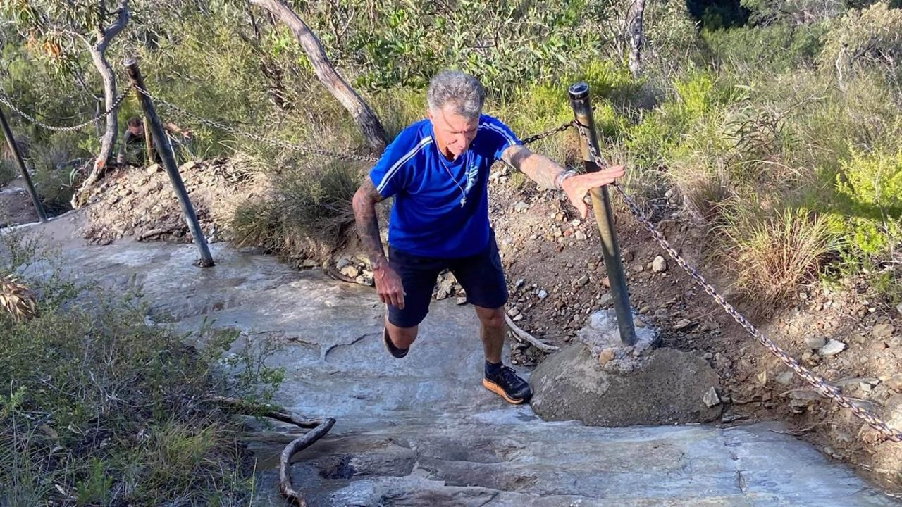 Coe Vines makes his way up the gruelling Mt Cooroora. 2020 would have been his 25th consecutive year competing in the King of the Mountain race.