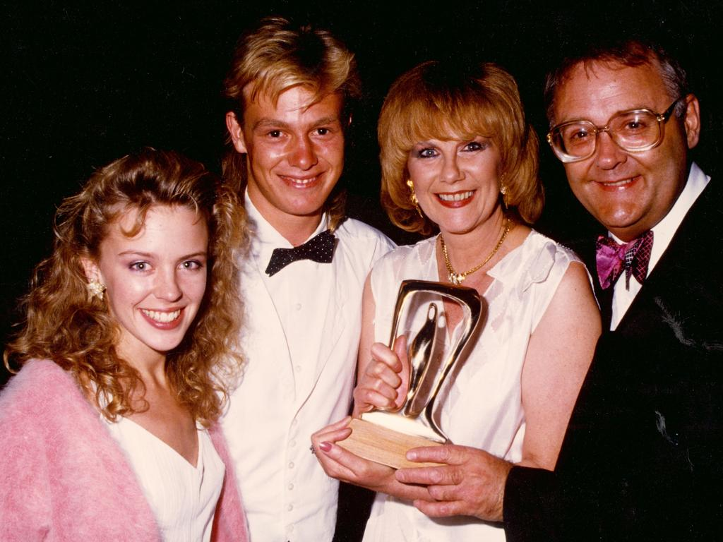 Neighbours stars, Ian Smith (right) with Kylie Minogue, Jason Donovan and Anne Charleston. Picture: Supplied