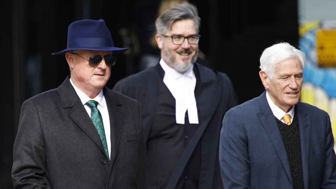 Craig Gore (left) arrives at Brisbane Supreme Court where he is on trial for fraud. Picture: Tertius Pickard (NCA NewsWire)