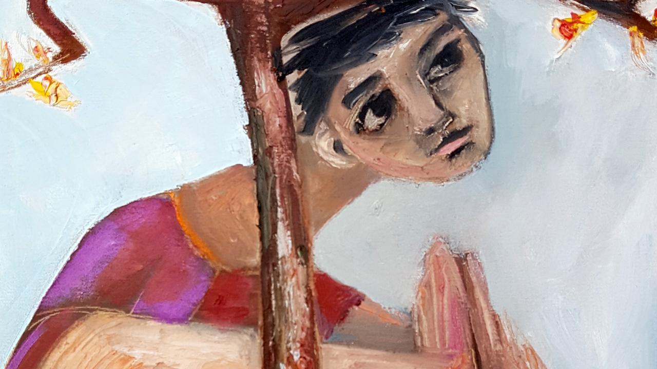 'Pray for Rain' by Tewantin artist Saren Dobkins reflects on her bushfire experiences.