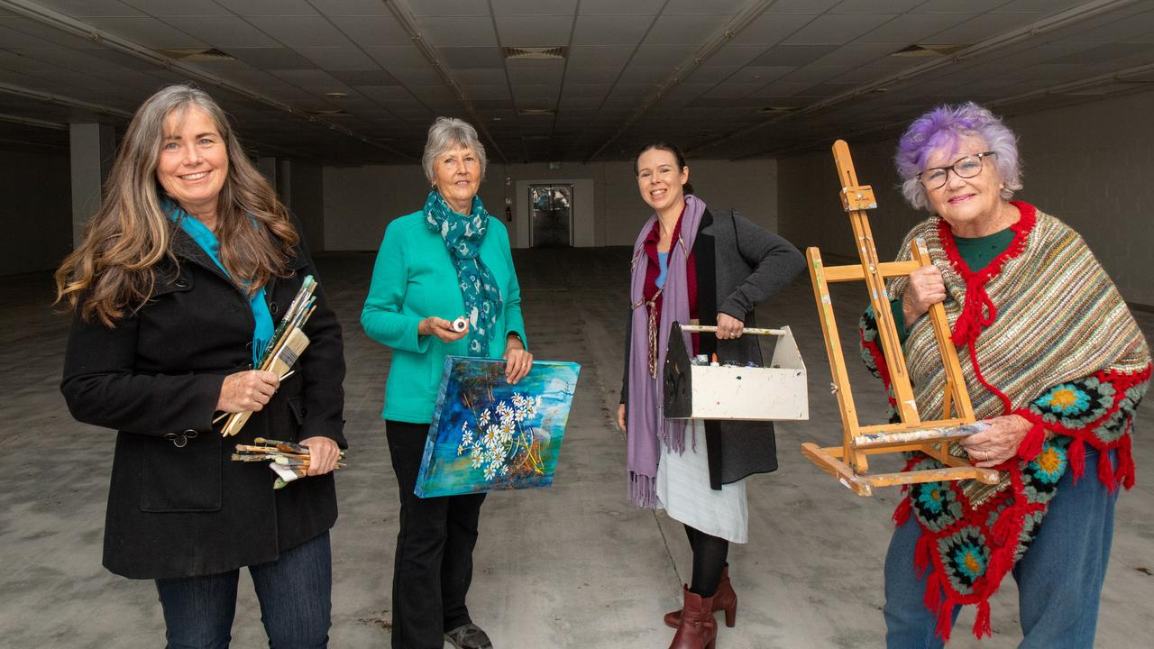 Lockyer Creative Collective's Maree Rosier (president) Pip Van Gilst (secretary) Gillian Gehrke (marketing officer) and artist Elizabeth Browne. PHOTO: ALI KUCHEL
