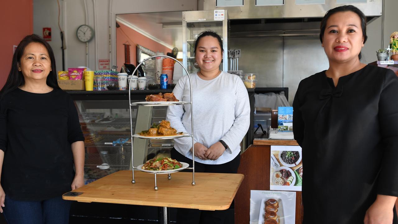 Lolita Andrews, Sherry Harvie and Jhona Leonard at the Filipino Cafeteria on Berserker Street