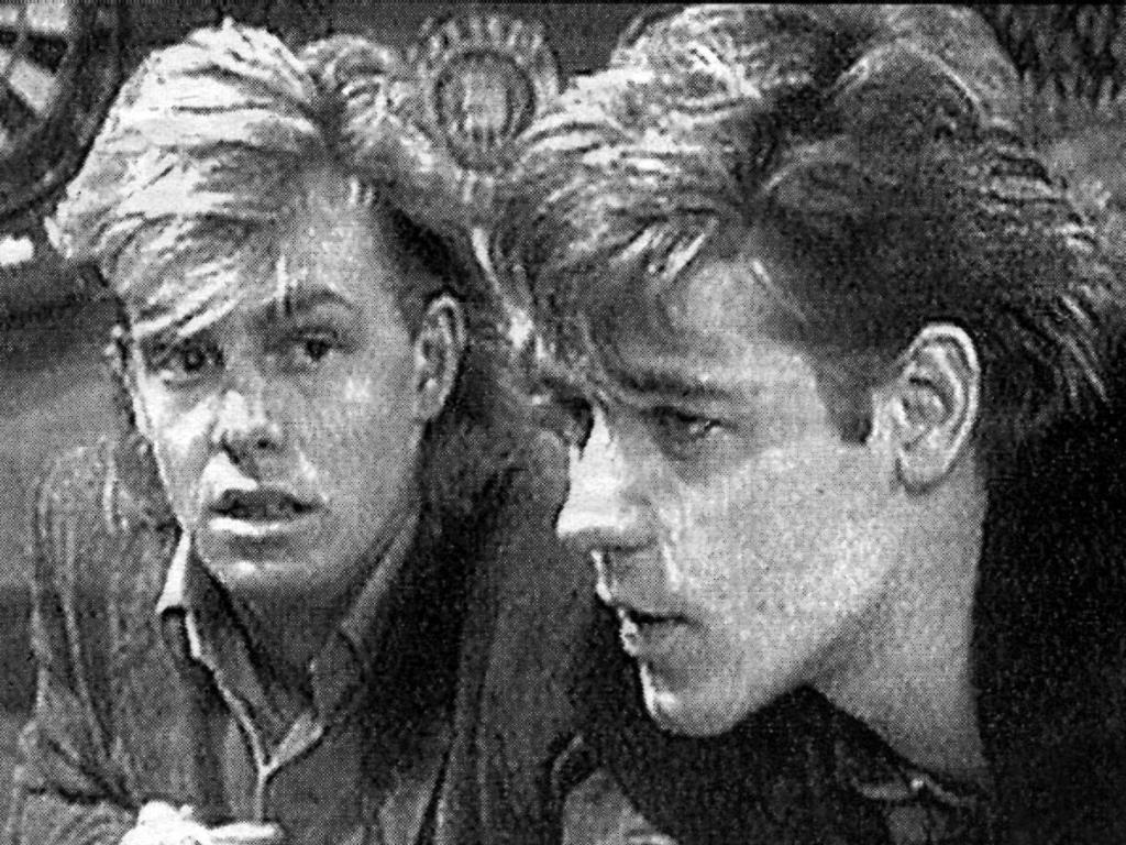 Actor Jason Donovan with Russell Crowe in Neighbours in 1987.