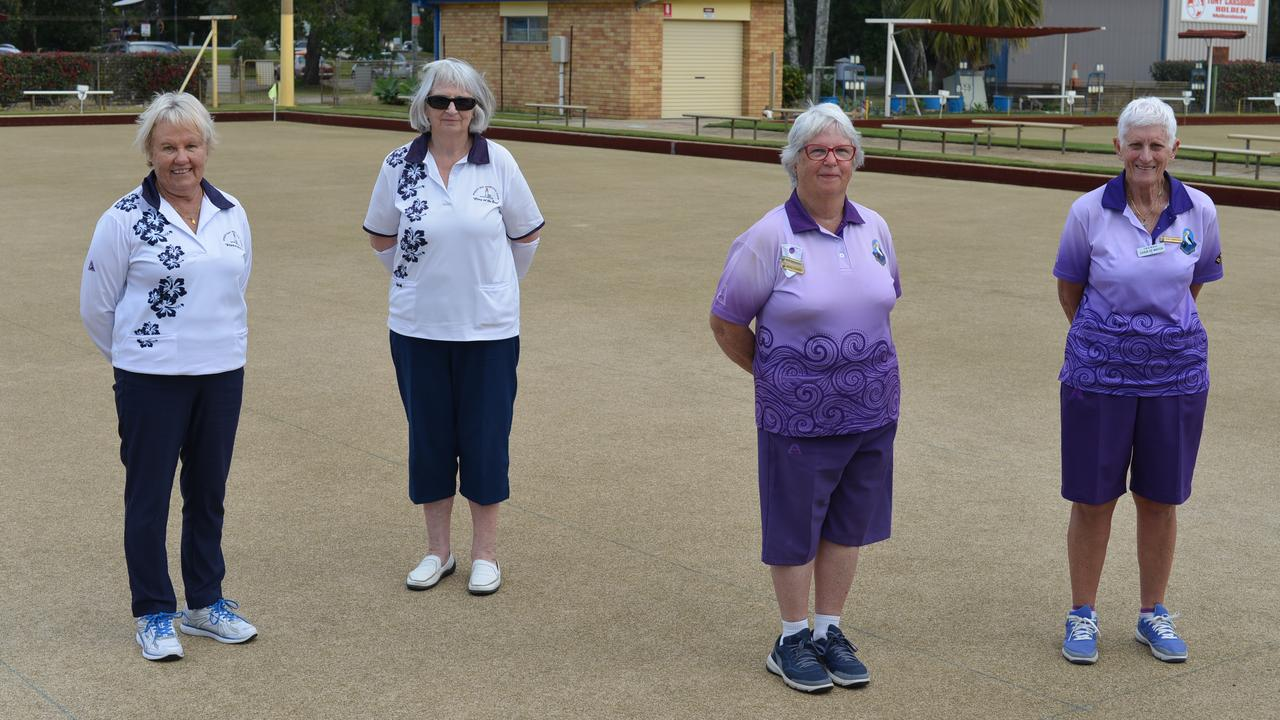 WINNING WAYS: T.B.D.W.B.A. 2020 Senior Pairs Championship finalists – Left Pam Scarborough, Jeanette Beaton (Byron Bay) and on right, Marjorie Flesser, Suzanne Lawrance (Pottsville).