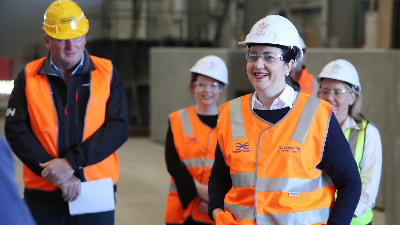 Premier Annastacia Palaszczuk and State Development Minister Kate Jones visiting Wagners concrete plant at Wacol. Pic Peter Wallis