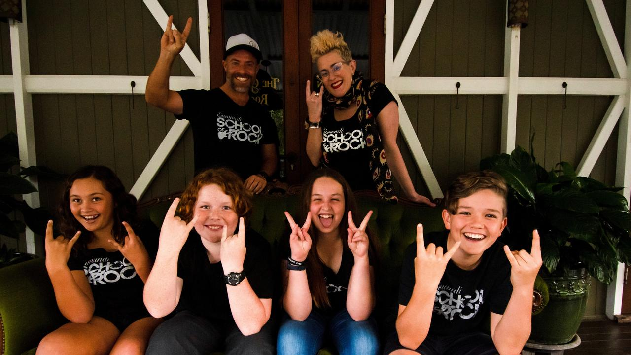 Layla, Beau, Isabella and Jonah with guitar teacher and singer/songwriter Mark Maroney and Eumundi School of Rock director Katie Noonan.