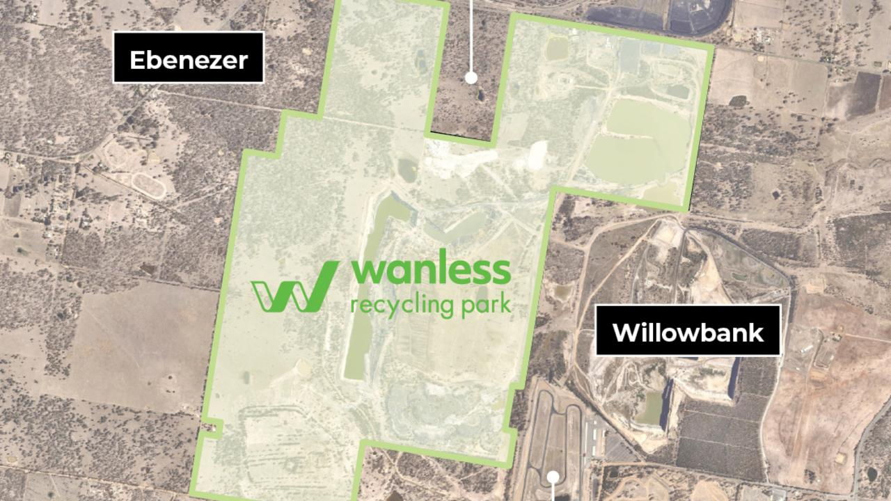 An aerial map showing the proposed Wanless Recycling Park.