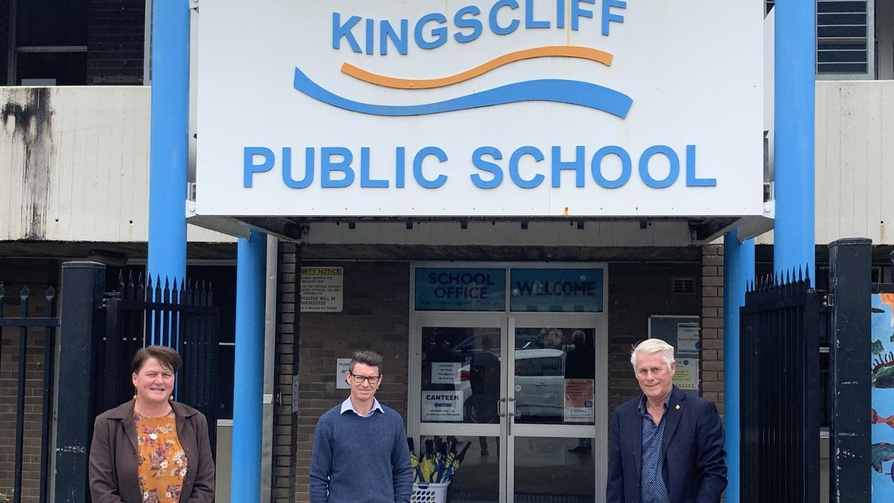 Deputy Principal Belinda Mirana, Senior Project Director with School Infrastructure NSW Matthew Schaeffer and Tweed MP Geoff provest at Kingscliff Public School