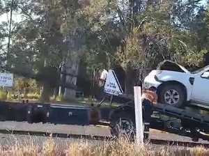 Car towed after crashing with cow