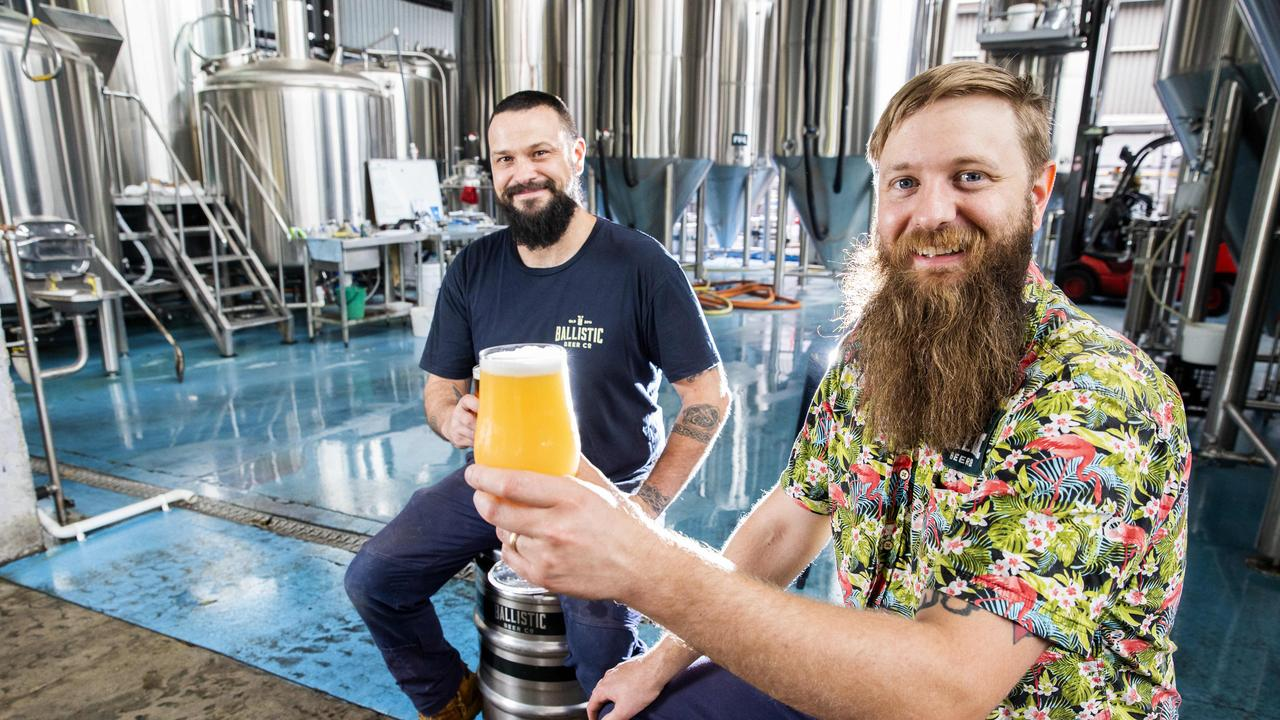 Ballistic Beer Co's Evan Lloyd and head brewer Lachy Crothers pose for a photograph at Ballistic Beer Co. in Salisbury, Thursday, November 21, 2019 (AAP Image/Richard Walker)