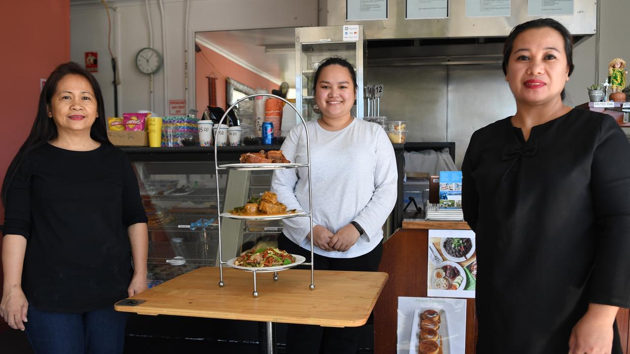 Lolita Andrews, Sherry Harvie and Jhona Leonard at the Filipino Cafeteria on Berseker Street