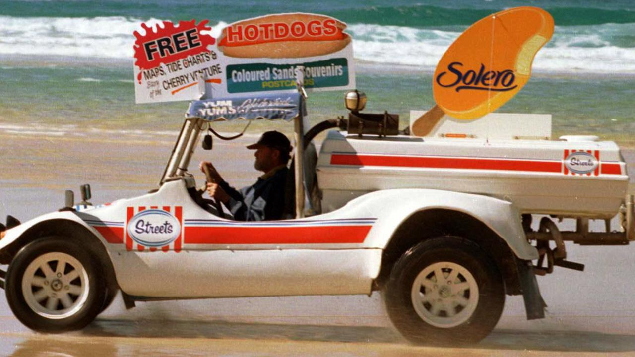 RON 'YUM YUM' BROUGHTON heads up   NOOSA NORTH SHORE in his VW BUGGY PICT ROB/MIDDENWAY ice cream vendor  headshot 4wd advertising  beaches sunshine coast occupations food seller jun 1997 volkswagen