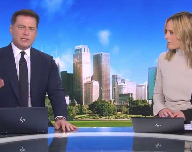 A furious Karl Stefanovic abruptly ended a live interview with the anti-masker who filmed her confrontation with staff at a Bunnings store. Picture: Channel 9