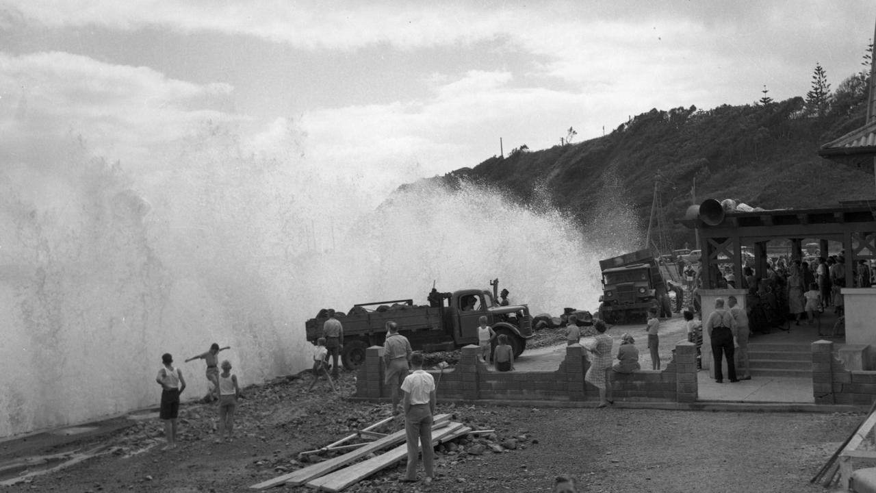 Kirra pounded by heavy surf, 1949.