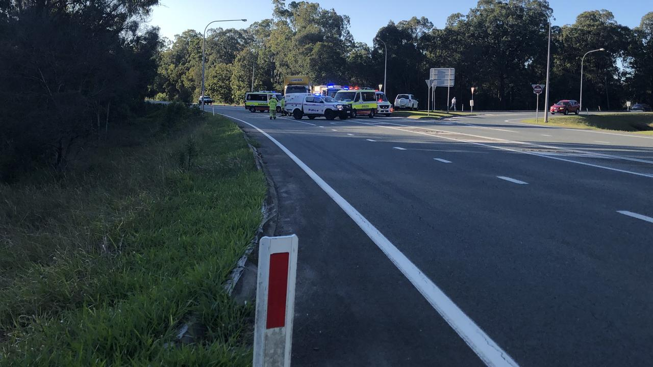 Police arrive at the scene on Cleveland-Redland Bay Rd and Serpentine Rd at Redland Bay. PHOTO: JUDITH KERR