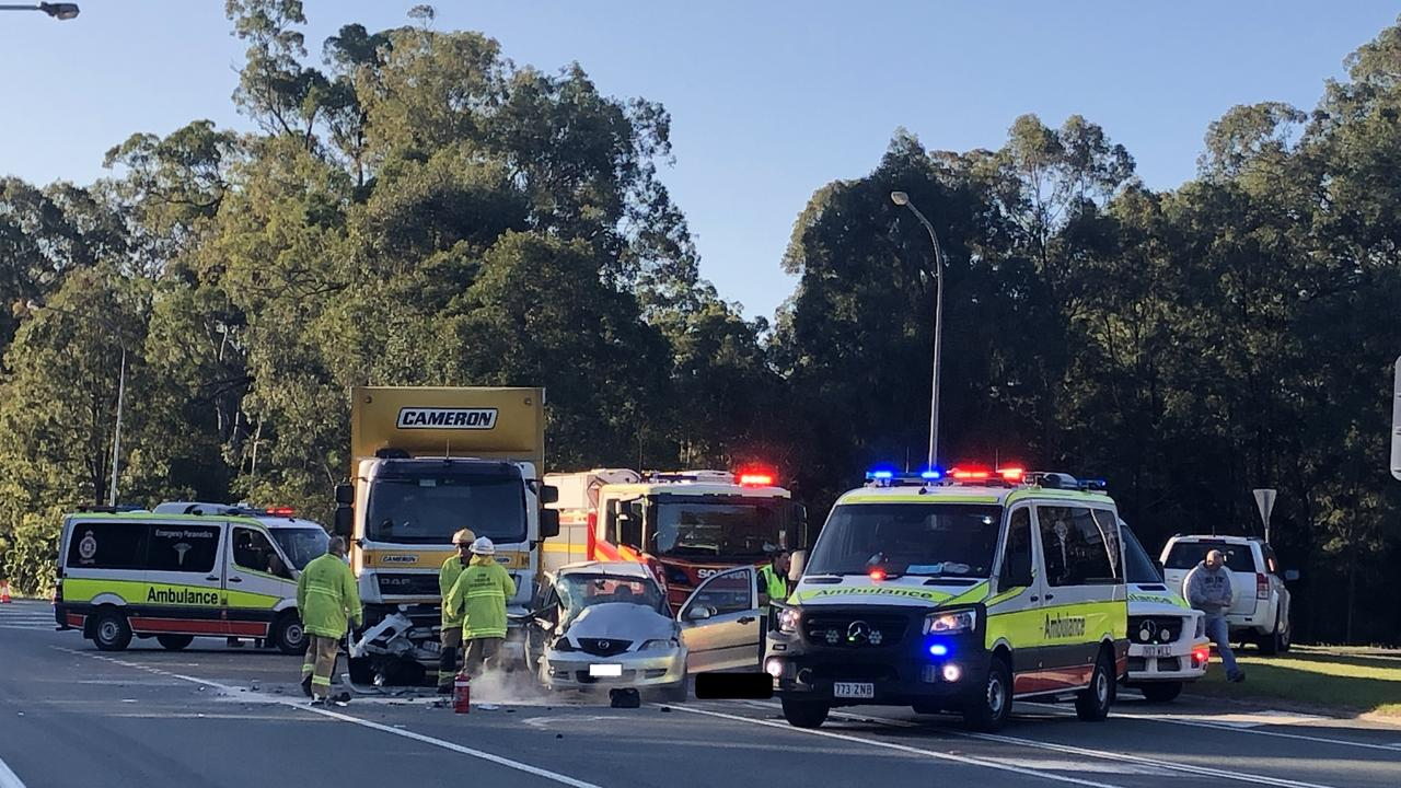 Emergency services at the scene of a serious traffic crash at Redland Bay this afternoon. Picture: Judith Kerr