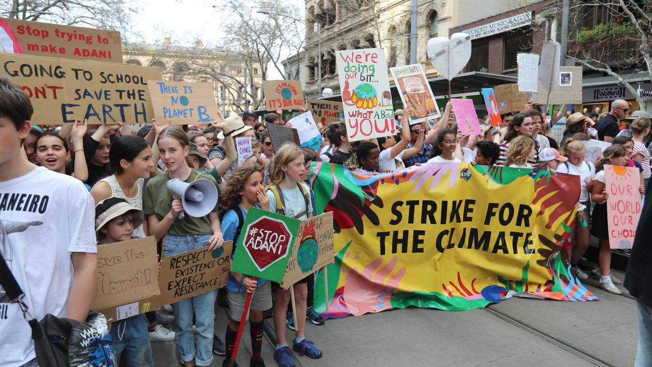 Protesters at the Global Strike 4 Climate rally, Melbourne, Friday, September 20, 2019. The Global Strike 4 Climate demands government and business to commit to a target of net zero carbon emissions by 2030. Picture: Alex Coppel