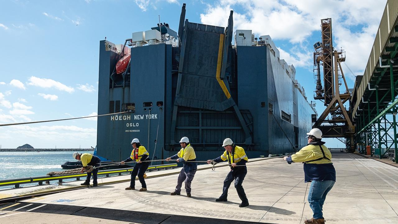 The Hoegh New York ship unloading cargo at the Port of Mackay on April 24, 2020.