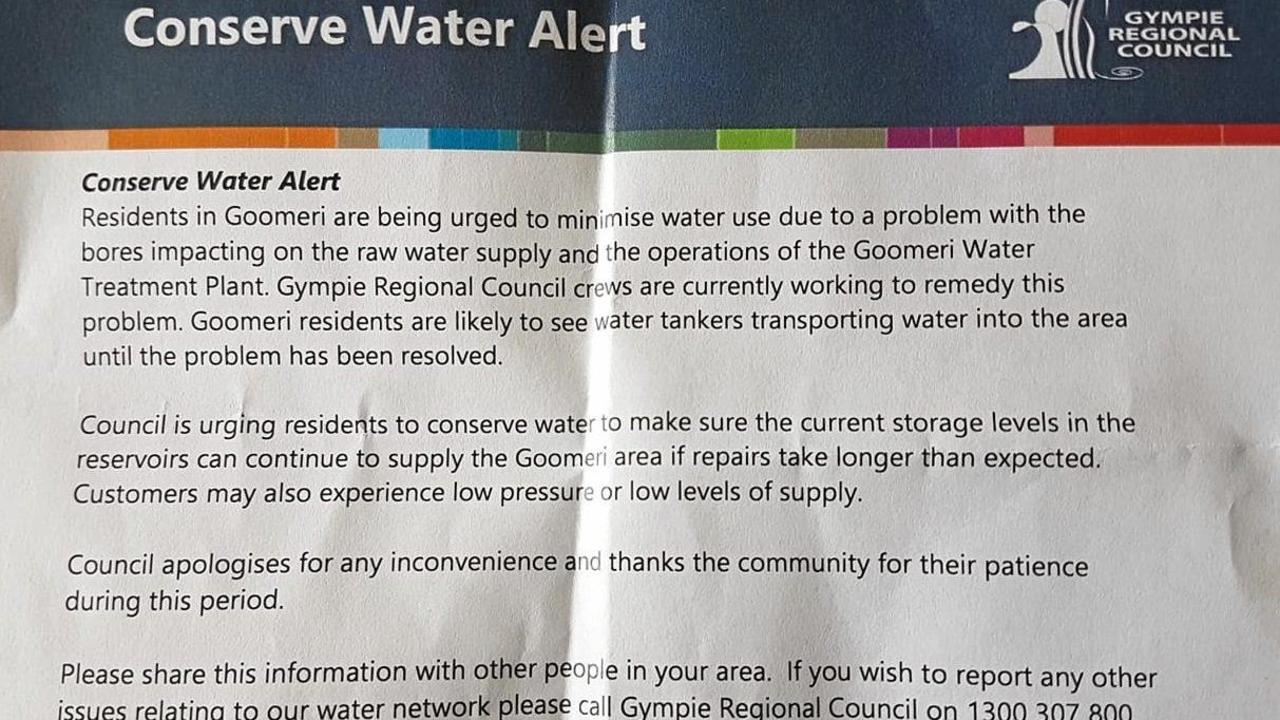 Gympie Regional Council flyer on Goomeri water problem. File Photo.