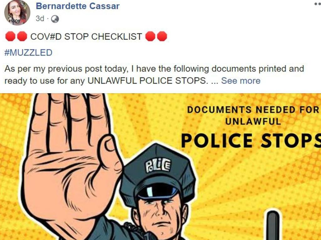 Bernadette Cassar came up with the 'COVID Stop Checklist' being used by anti-maskers defying police enforcement of the new laws. Picture: Facebook