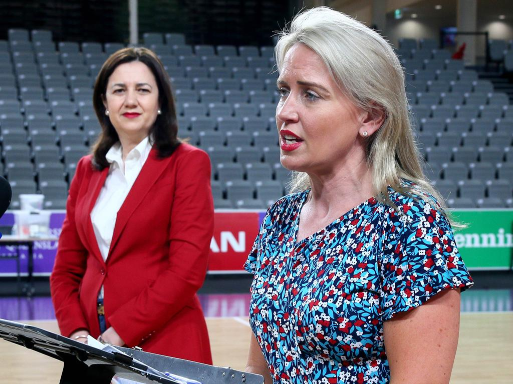 Queensland Premier Annastacia Palaszczuk and State Development Minister Kate Jones. Picture: David Clark