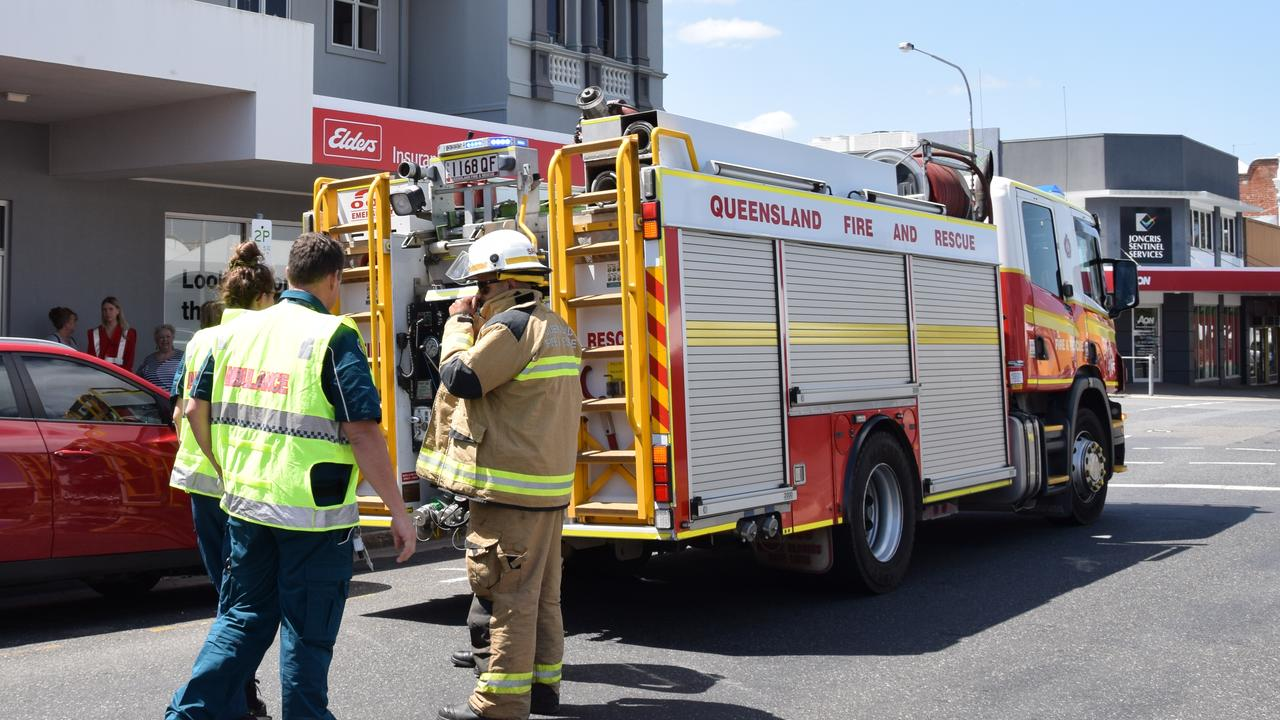 Emergency services respond to reports of a three vehicle crash at a Rockhampton CBD intersection this afternoon.