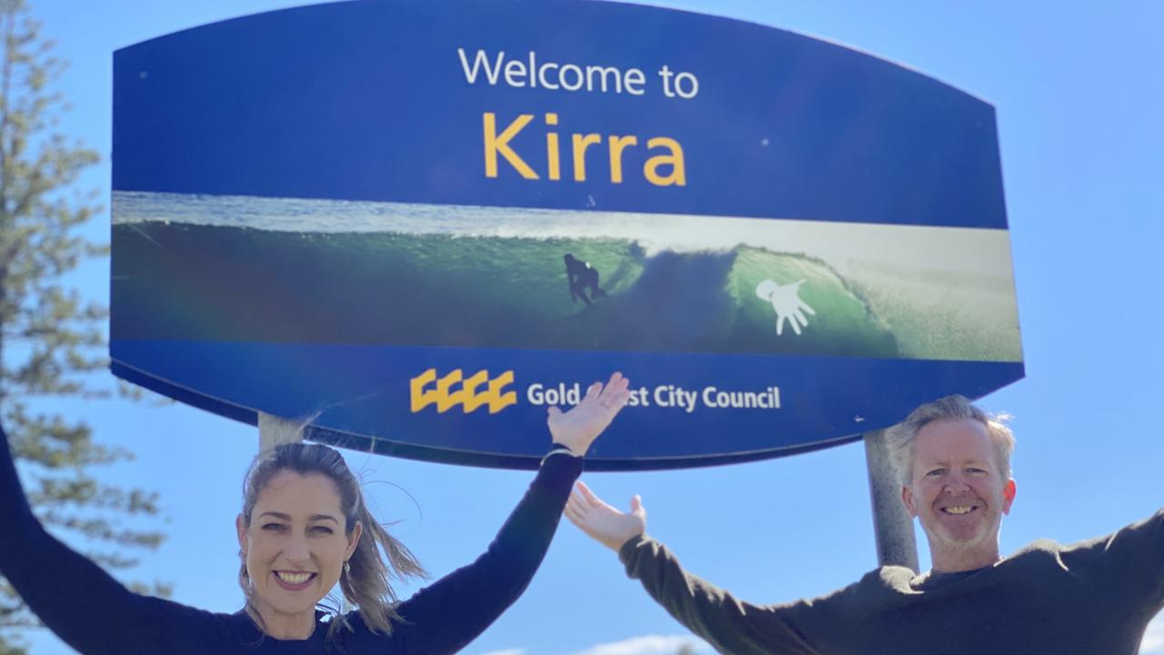 Currumbin MP Laura Gerber and resident Piers Booth wanting to put Kirra on the map and gain the southern Gold Coast location official suburb status.
