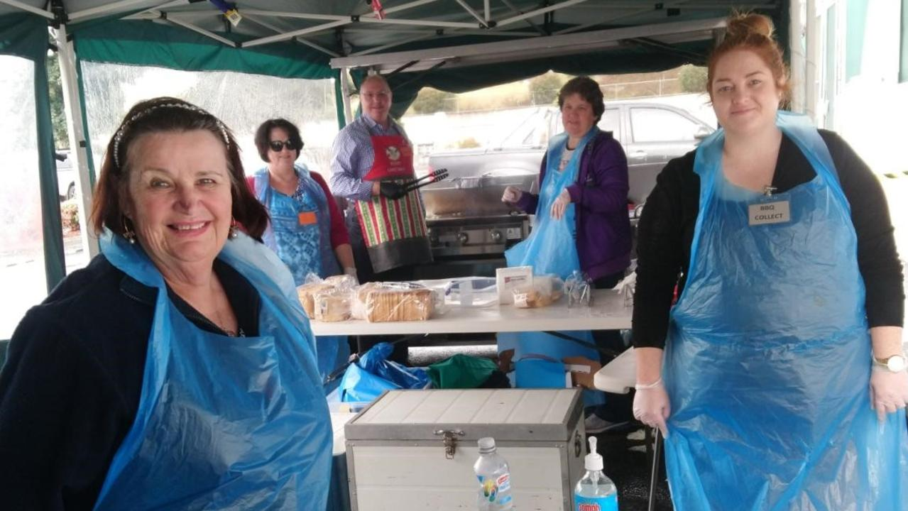 POPULAR FUNDRAISER: Volunteers at the QCWA Toowoomba City Business Women's Branch are (from left) Pam Beresford, Heather Drake, Jason Bradshaw, Narelle Essam, and Georgia Ward.