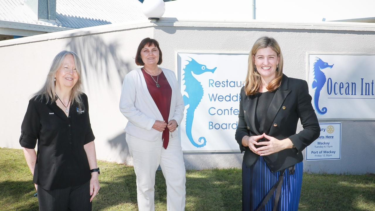 Ocean International owner Hannah Guerin with Mackay MP Julieanne Gilbert and Small Business Minister Shannon Fentiman.