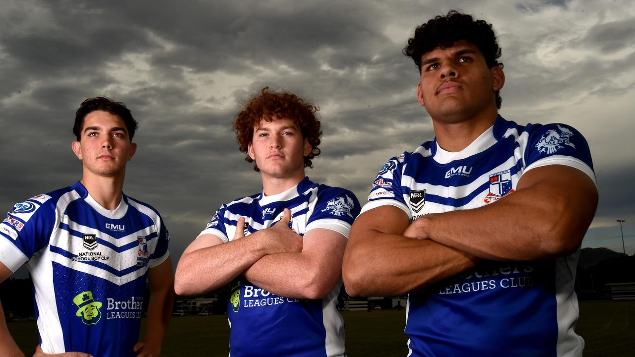 Ignatius Park College students Trey Valentine, 17, Luke jack, 16, and Damon Marshall, 16, are ready for today's Aaron Payne Cup clash against St Brendan's College Yeppoon. Picture: Evan Morgan