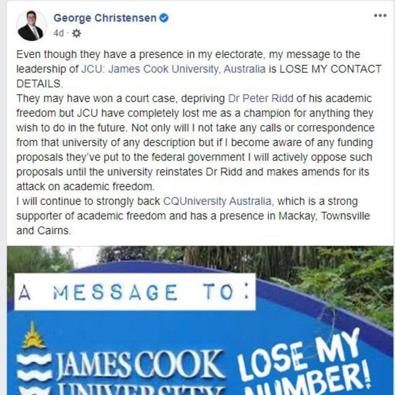 Dawson MP George Christensen's Facebook post about James Cook University. Picture: Facebook