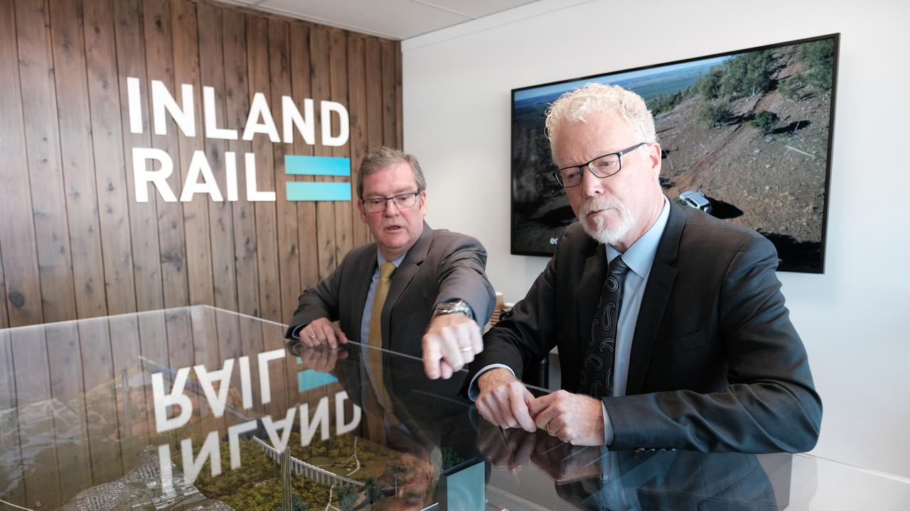 Groom MP Dr John McVeigh and Australian Rail Track Corporation Inland Rail CEO Richard Wankmuller at the opening of ARTC's new Inland Rail office in Margaret St, Toowoomba.